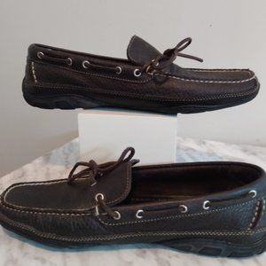 L.L Bean size 12 leather dock shoes brown.